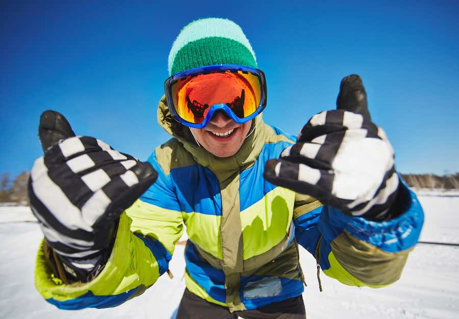 White and black snowboarding gloves