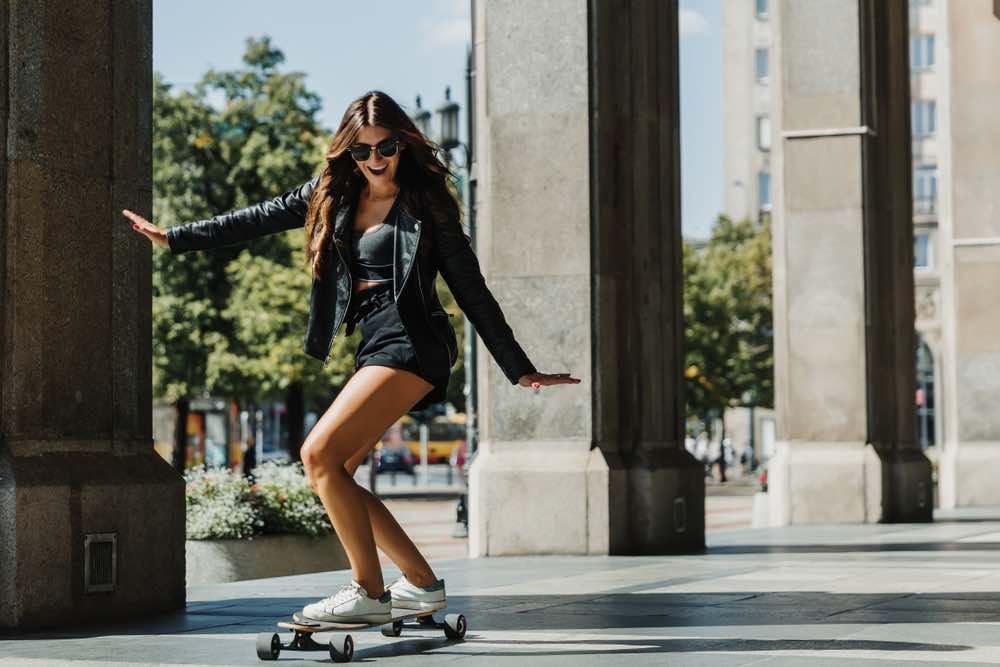 Girl Carving on a Longboard