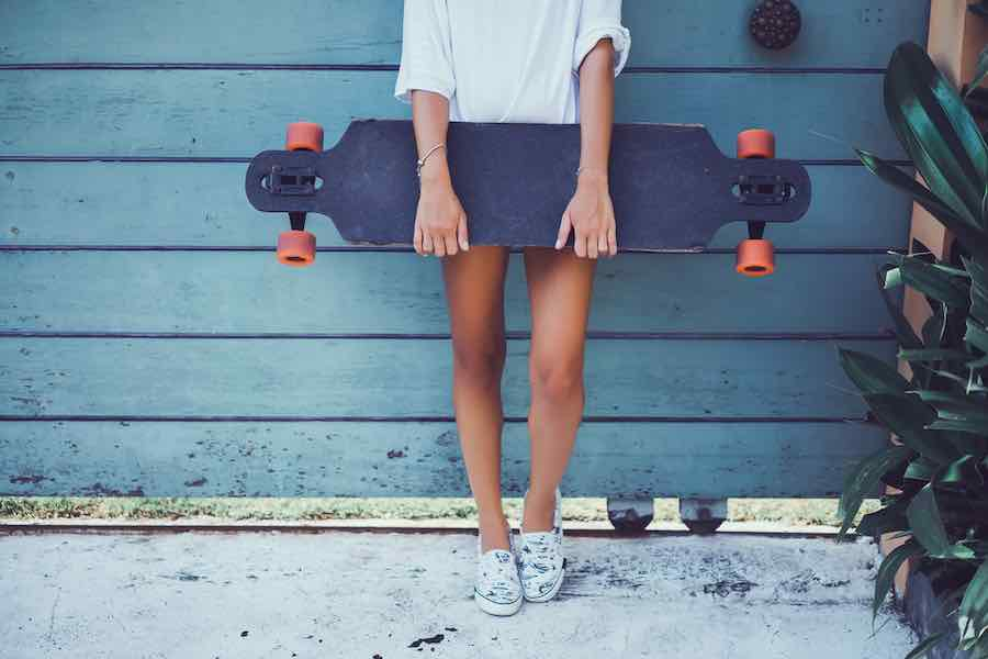 Girl with longboard